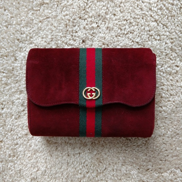 a383f73772f Gucci Handbags - Mini Red Suede Vintage Gucci Clutch Handbag Purse
